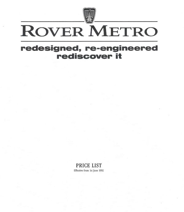 Rover Price List 01.06.1992
